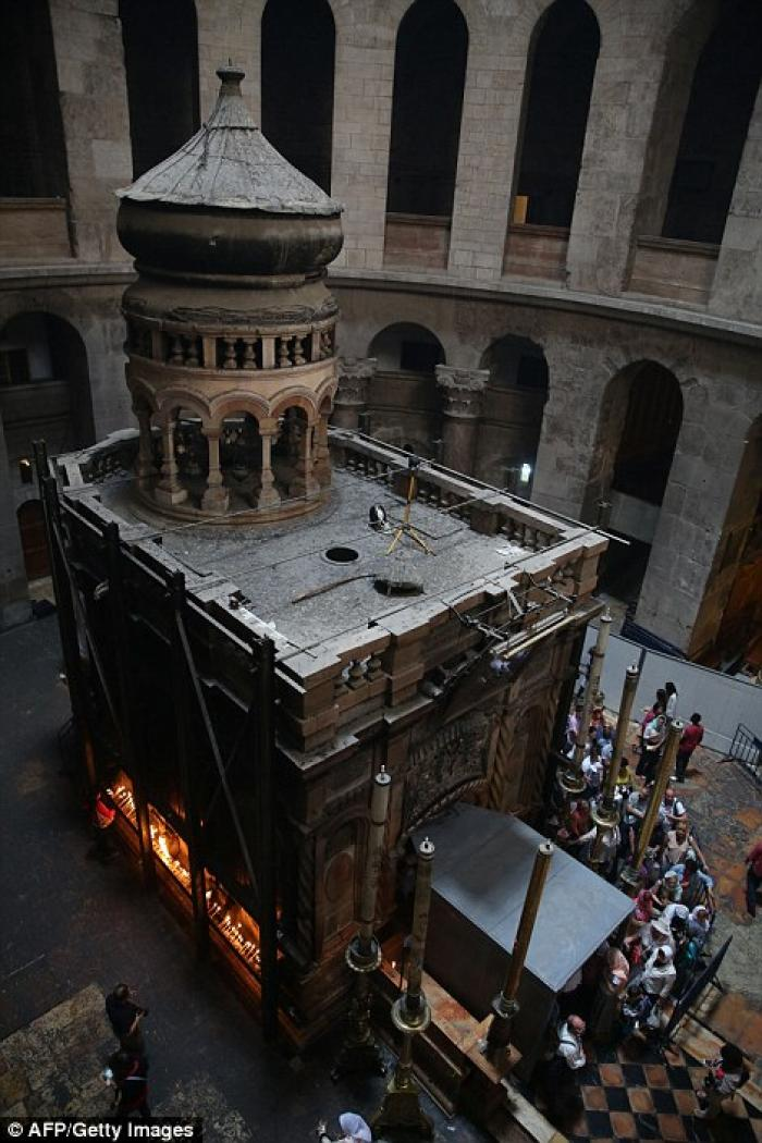 The edicule which was first built in ancient times to protect the site of Christ
