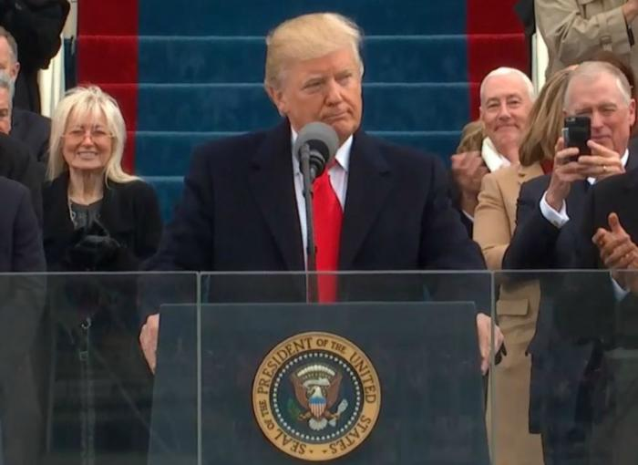 President Donald Trump gives his first presidential speech.