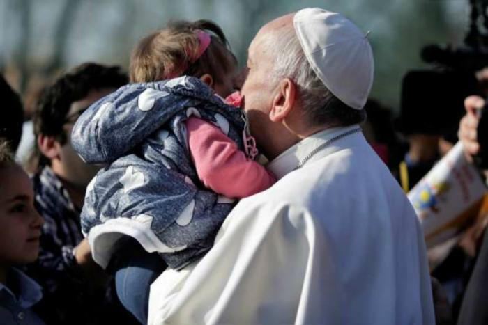 Pope Francis visits the Roman parish of Santa Maddalena di Canossa.