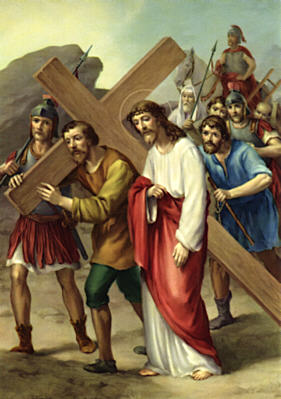 Image of Fifth Station: Simon of Cyrene helps Jesus to carry his cross