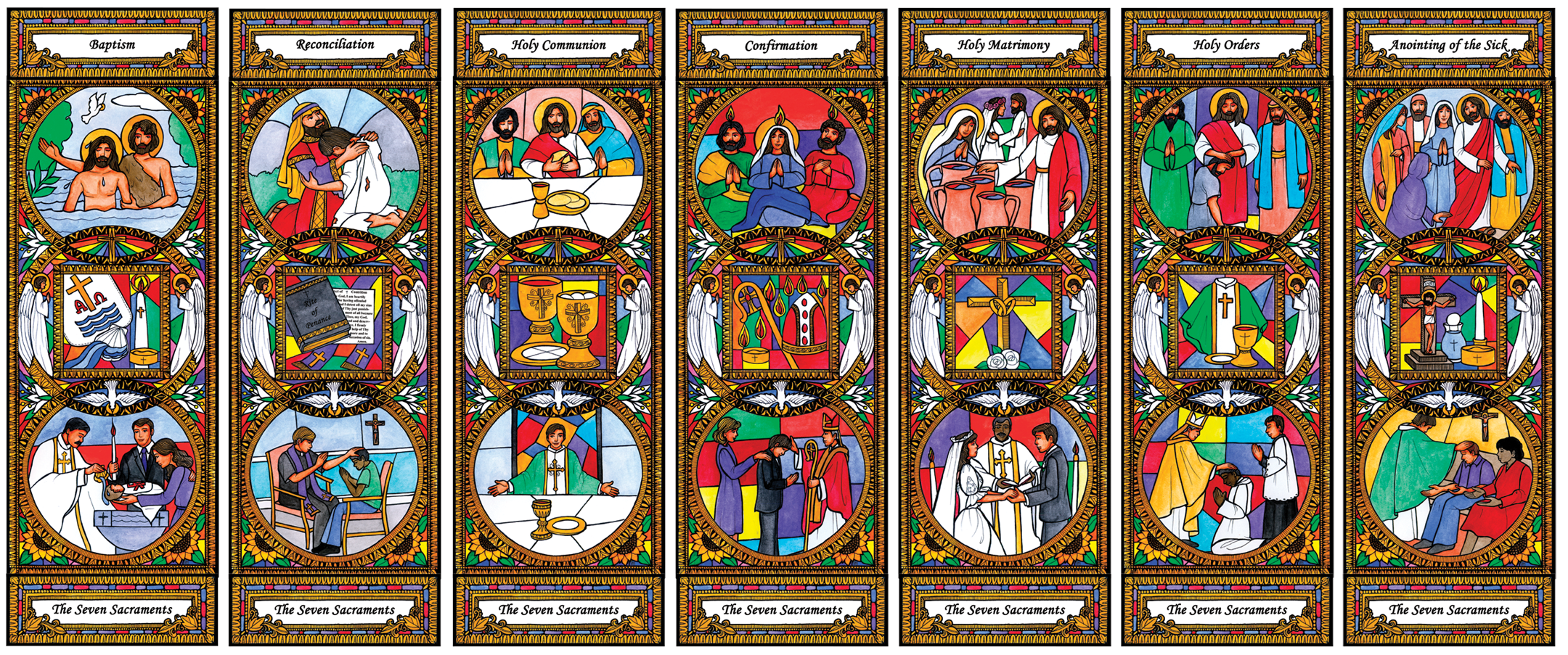 Stained Glass Seven Sacraments