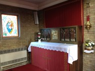 The Blessed Sacrament is reserved in a side chapel