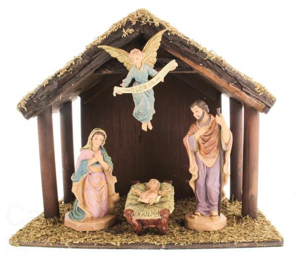 DiGiovanni Nativity Set With Wood Stable 6 Inch Figures