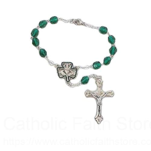 Irish Auto Rosary with Claddagh and Clover Centerpiece