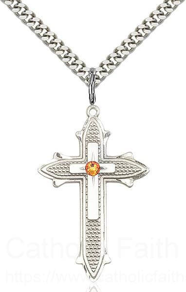 Large Women's Polished and Textured Cross Pendant with