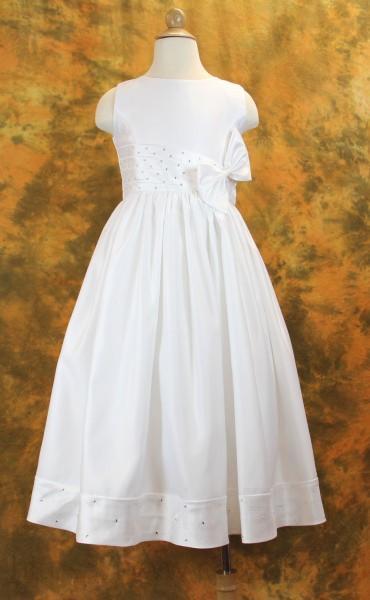 Plus Size First Communion Dress with Pleated Rhinestone Waist  Hemline