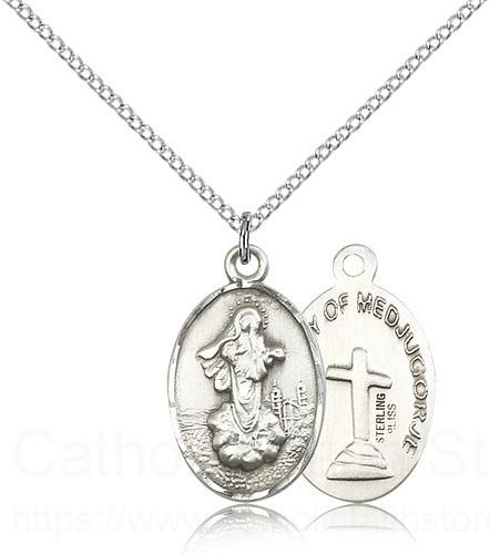Sterling Silver Our Lady of Medjugorje Necklace