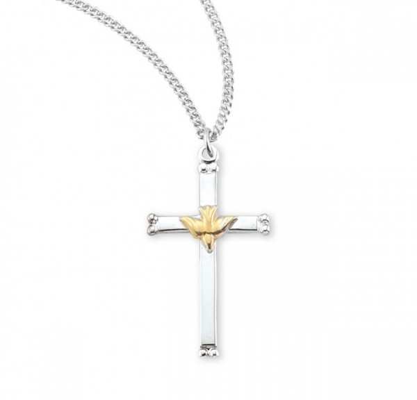 Two-Tone High Polish Cross Pendant with Holy Spirit Center