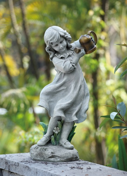 Little Girl Holding a Watering Can Outdoor Garden Statue