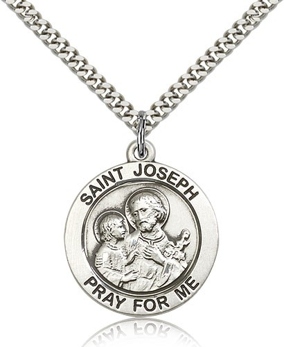Sterling Silver Men's Pray for Me St. Joseph Necklace