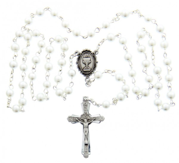 First Communion White Pearl Rosary with Chalice Centerpiece