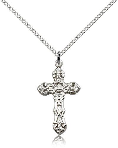 Sterling Silver Ornate Fleur De Lis Women's Cross Necklace