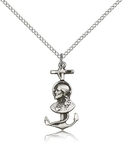 Sterling Silver Sacred Heart Anchor Cross Pendant