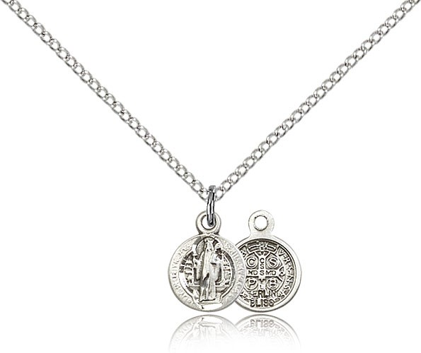 Sterling Silver Petite Round St. Benedict Necklace