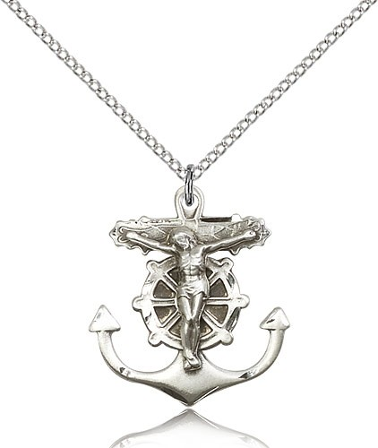 Sterling Silver Anchor Crucifix Necklace