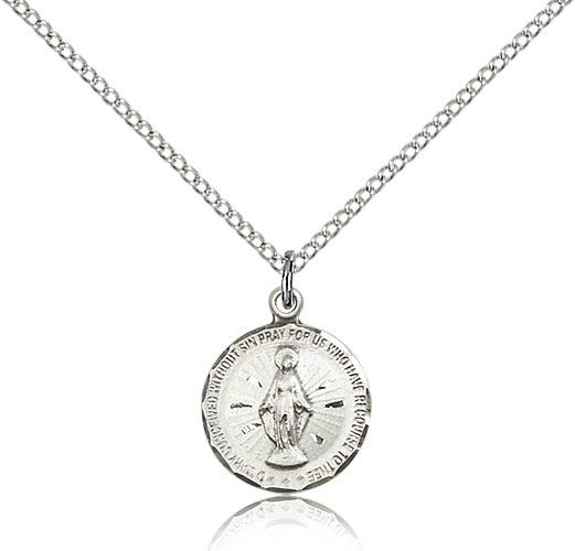 Petite Round Miraculous Medal Necklace