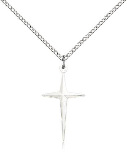 Sterling Silver North Star Cross Pendant