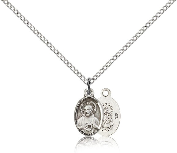 Sterling Silver Petite Charm Size Scapular Necklace