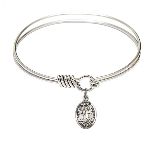 Silver Smooth Bangle Bracelet with a Saint Isidore the