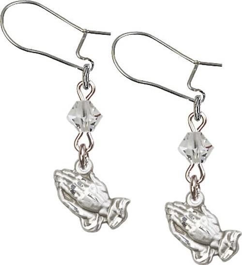 Sterling Silver Praying Hands 'Crystal Bead' Earrings