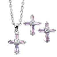 Pink Cross Necklace and Earrings Set (#13129)