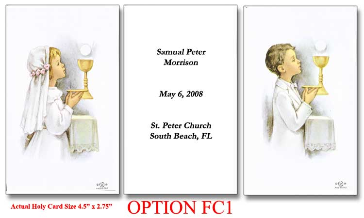 Kneeling Child Holy Cards For Your First Communion Class