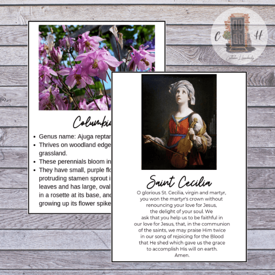 saint cecilia and columbine fairy printable