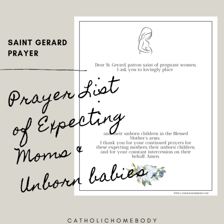 printable prayer lists of expecting moms