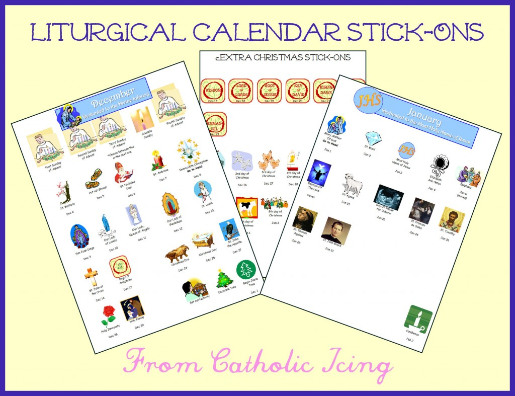 Catholic December And January Calendar Stick Ons