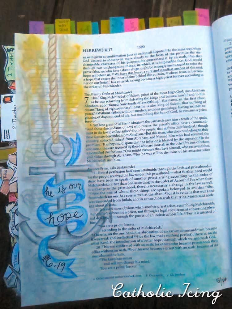 bible journaling- he is our hope- anchor- hebrews