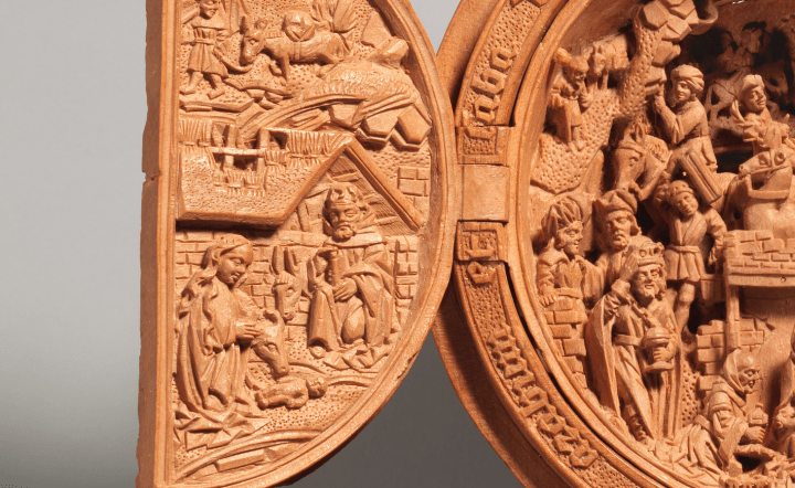 Close-up view of the Journey to Bethlehem and the Nativity