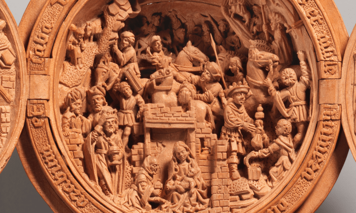 At the center is the Journey of the Magi and the Adoration of the infant Jesus.