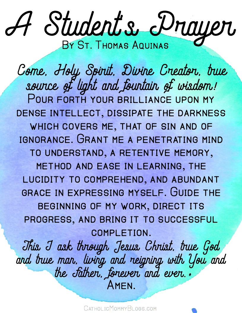 St. Thomas Aquinas' Student Prayer