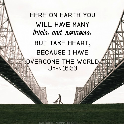 """Here on earth you will have many trials and sorrows. But take heart, because I have overcome the world"" - John 16:33 Scripture inspiration miscarriage"