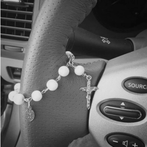 White rosary for car
