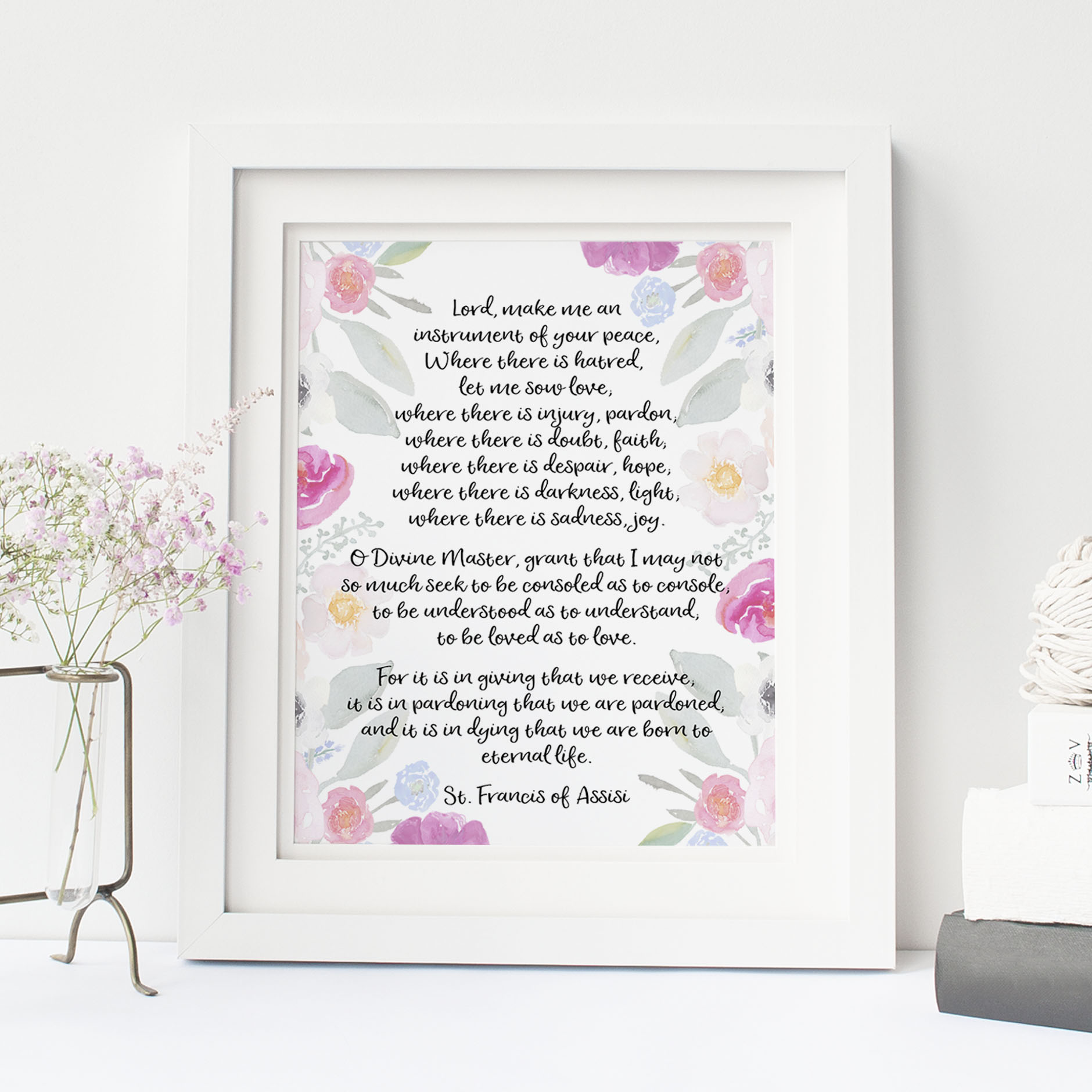 Peace Prayer of St. Francis of Assisi, Make Me An Instrument of Your Peace, Catholic Printable