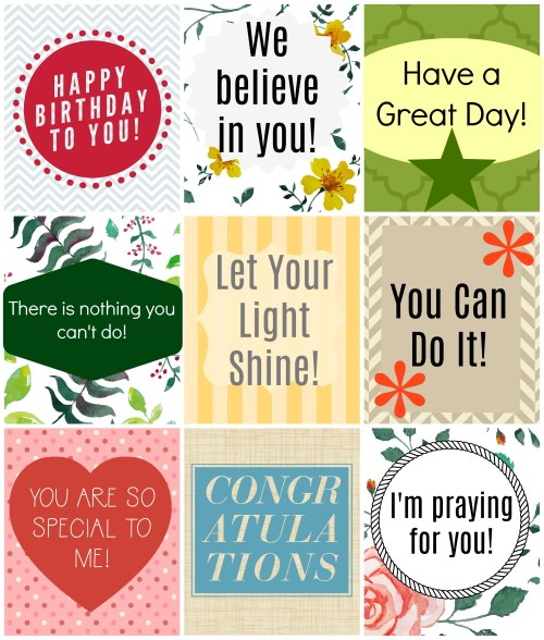 Printable Inspirational Lunch box notes