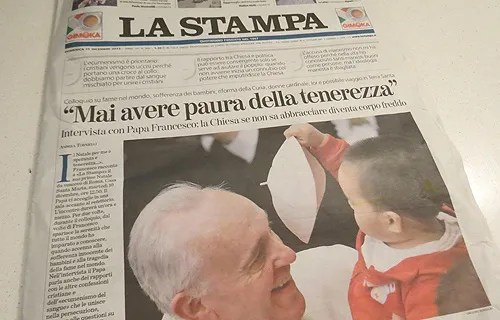 Pope Francis gives an exclusive interview to Italian newspaper La Stampa on Dec. 15, 2013. Credit: File Photo/CNA.