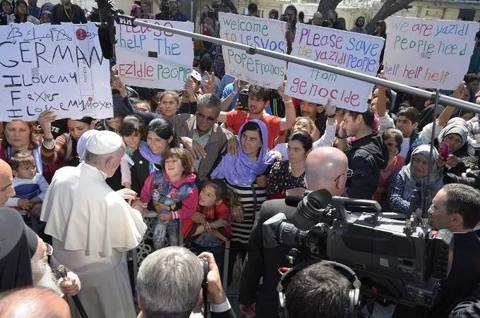 Pope Francis visits refugees at Mòria refugee camp on the Greek island of Lesbos April 16, 2016. Credit: L'Osservatore Romano.