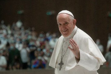 Pope Francis at the general audience on Aug. 18, 2021.