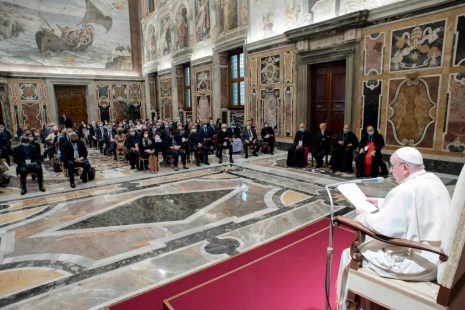 Pope Francis meets participants in the plenary assembly of the Pontifical Academy for Life in the Vatican's Clementine Hall, Sept. 27, 2021