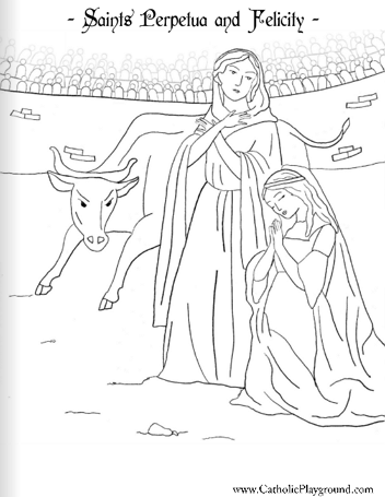 Saints Perpetua and Felicity coloring page: March 7th