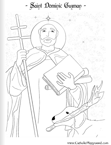 Saint Dominic Guzman coloring page: August 8th
