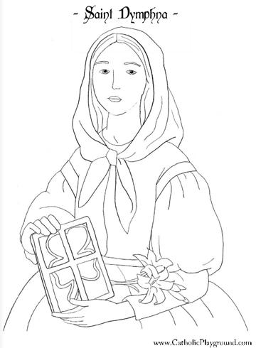 Saint Dymphna coloring page: May 15th