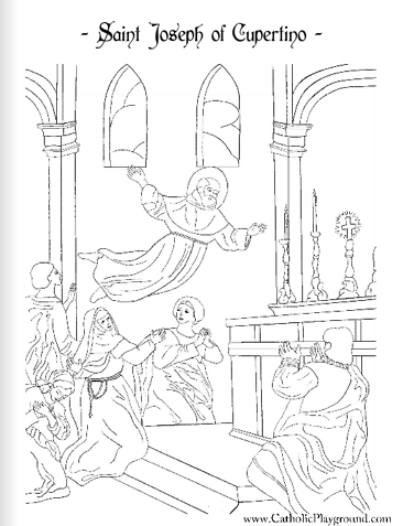 Saint Joseph of Cupertino coloring page: September 18th