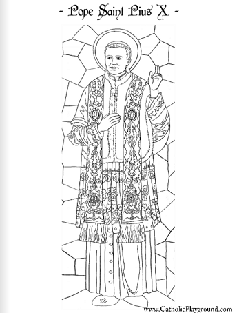 Pope Saint Pius X coloring page: August 21st