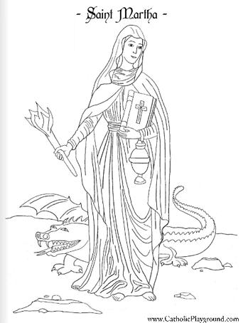 Saint Martha Coloring Page: July 29th