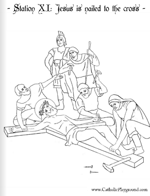 Coloring page for the Eleventh Station: Jesus is nailed to