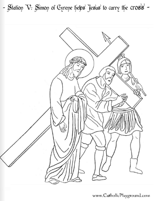 The Stations of the Cross in coloring pages
