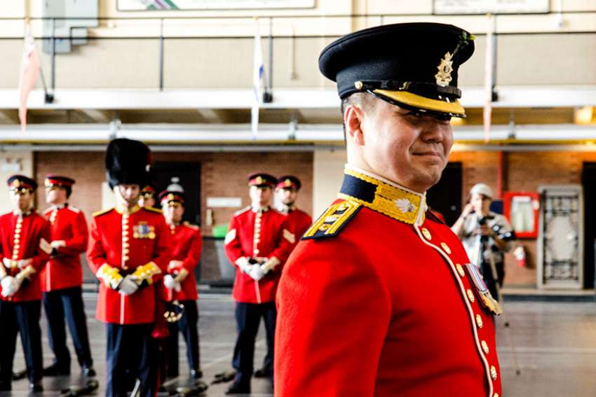 After taking command of the Royal Regiment of Canada June 4, Lt. Col. Joseph Nonato paces in front of those he is to lead for the next three years.